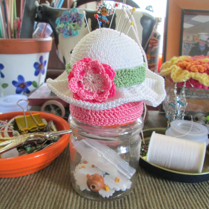 Spring Hat Crochet Pincushion