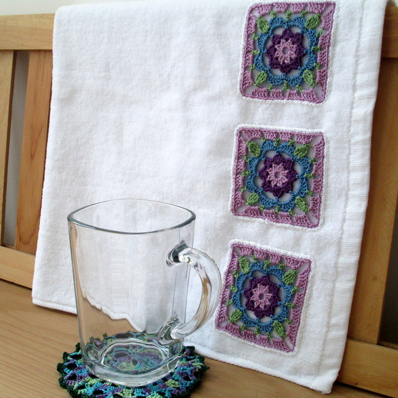 Tea Towle with Thread Crochet Grannies